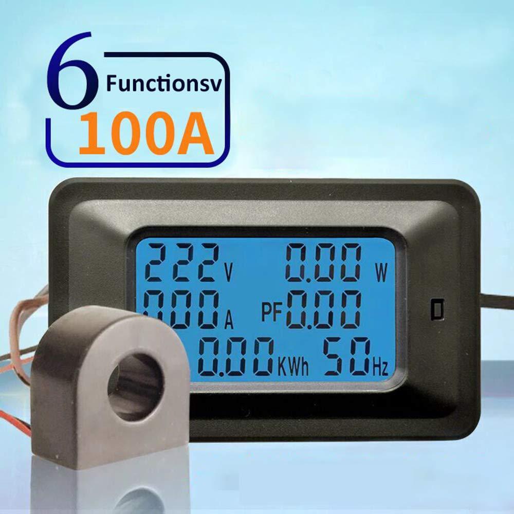 Festnight P06S-20A 6 IN 1 AC 110-250V Tensiom/ètres Num/ériques Indicateur LCD Alimentation Energie Voltm/ètre Amp/èrem/ètre Courant Amp/ères Volt Wattm/ètre Testeur D/étecteur