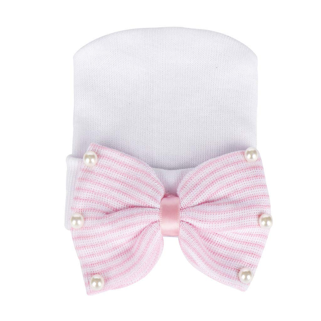 ❤️ Mealeaf ❤️ Fashion Newborn Baby Bearl Beading Bow-Knot Knitted Hemming Beanie Hat Cap(White,)