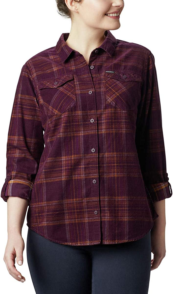 Columbia Times Two Corduroy Long Sleeve Shirt Camicia Donna Black Cherry Plaid