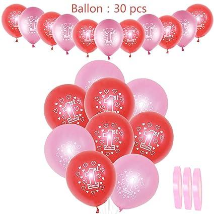 30 piezas de decoración de cumpleaños para niña, globos de 1 ...