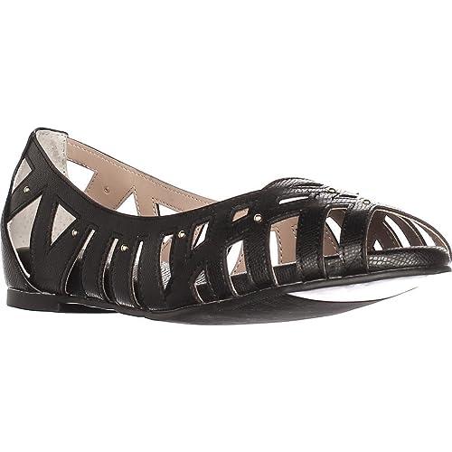 TS35 Zuly Cutout Peep Toe Ballet Flats Black Black Size 11.0