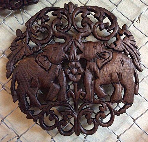 Home Decor Thai Elaborate Circular Double Thai Elephant Hand Carved Wood Wall Art Thailand Work