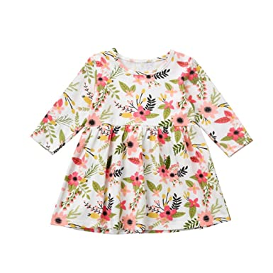 4d2c9c989 showsing 1-4 Years Kids Long Sleeve Princess Dress, Baby Girls Autumn  Winter Floral Print Party Pageant Skirt: Amazon.co.uk: Clothing