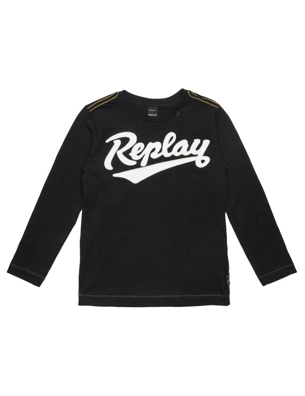 Replay Boy's Black Long-Sleeved T-Shirt With Print in Size 12 Years Black