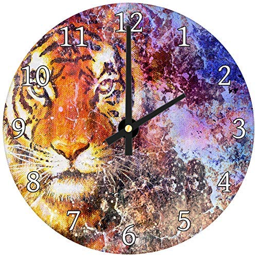 hiusan Purple Pink Orange Tiger Wood Wall Clocks Silent Decorative Living Room,Wall Clocks Non Ticking,for Kids Bedrooms,12in ()