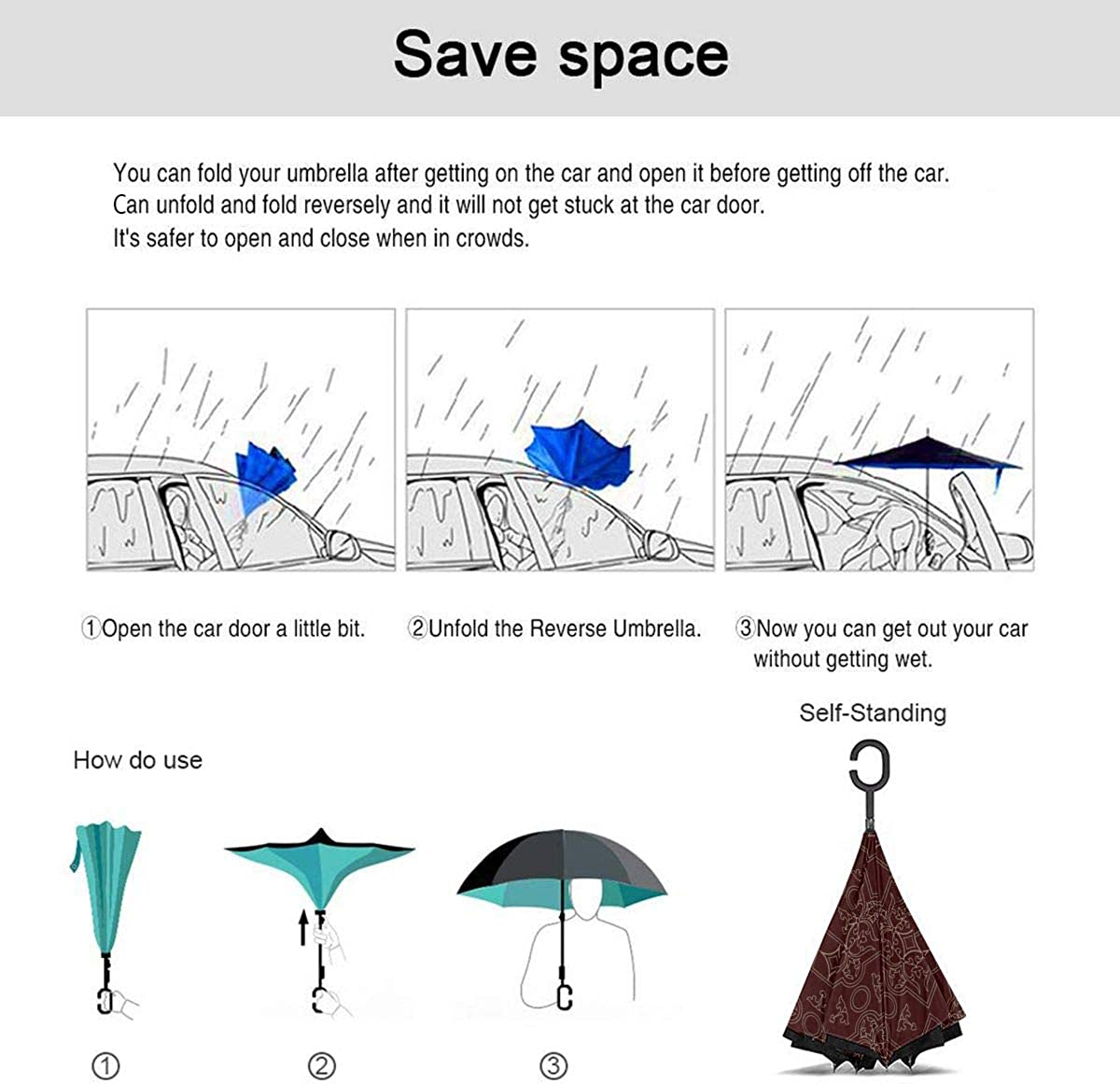 Vintage Endless Pattern Burgundy Background Reverse Umbrella Double Layer Inverted Umbrellas For Car Rain Outdoor With C-Shaped Handle Personalized