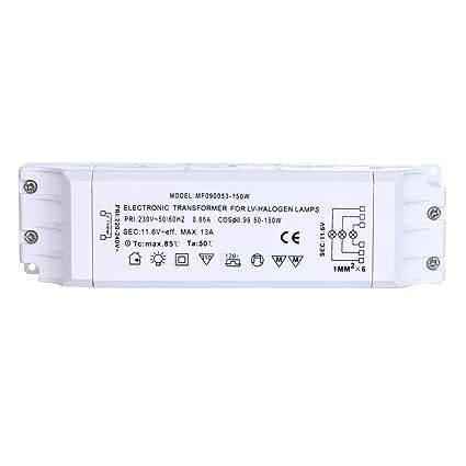 Liqoo 50-150W Transformador de Halógeno AC 12V Transformador Electrónico 220V a 12V para Lámparas