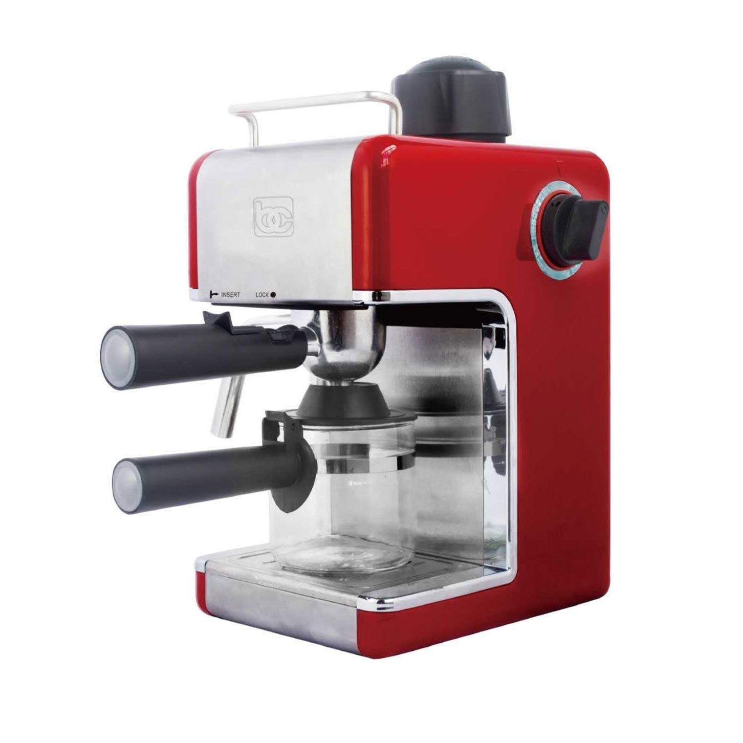Bene Casa BC-99148 4-Cup Red Espresso Maker with Frother by MBR (Image #1)