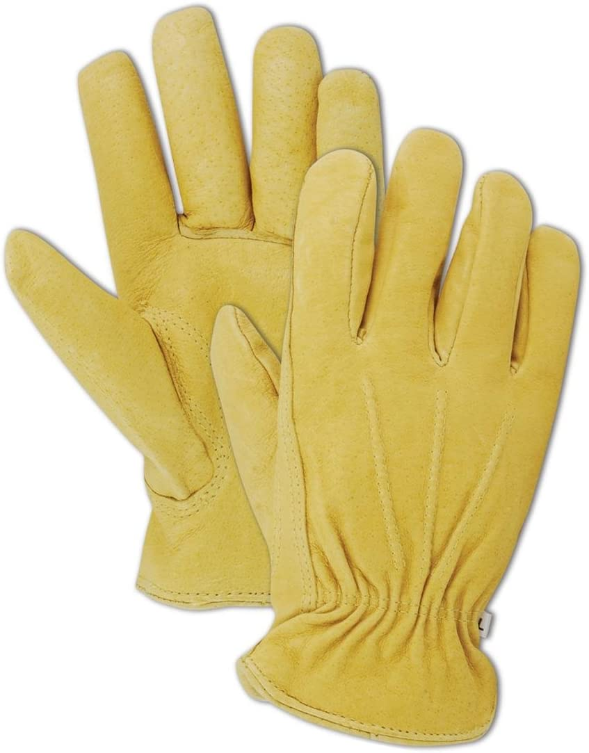 Magid B743ET-L Mens Pro Grade Collection Premium Red-Lined Grain Pigskin Gloves Tan Large Magid Glove and Safety B743ETL