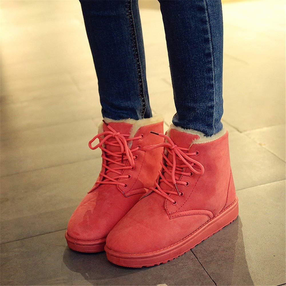 High Heels Damen Schneestiefel für Damen Heels mit flachem Boden und warme Baumwollstiefel aus Samt für Damen mit kurzem Schlauch für Damen, Rosa, 37 (Farbe   -, Größe   -) 82997a