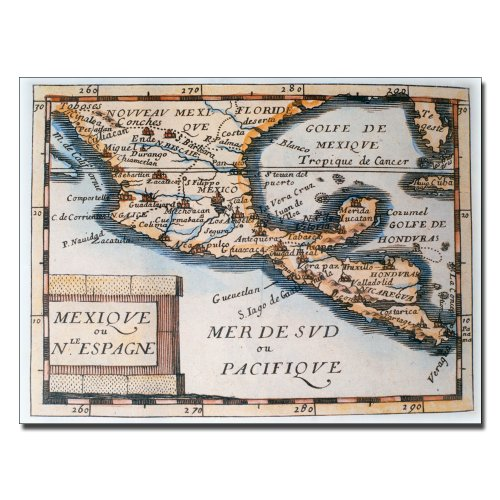 Map of Mexico or New Spain 1625 by Bridgeman Library work, 14 by 19-Inch Canvas Wall Art by Trademark Fine Art
