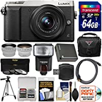 Panasonic Lumix DMC-GX85 4K Wi-Fi Digital Camera & 12-32mm Lens (Silver) with 64GB Card + Case + Flash + Battery + Tripod + Tele/Wide Lens Kit
