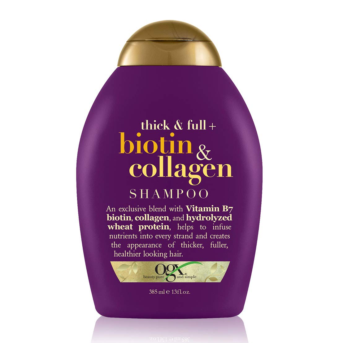 OGX Thick & Full + Biotin & Collagen Volumizing Shampoo for Thin Hair, Thickening Shampoo with Vitamin B7 & Hydrolyzed Wheat Protein, Paraben-Free, Sulfate-Free Surfactants, 13 fl oz