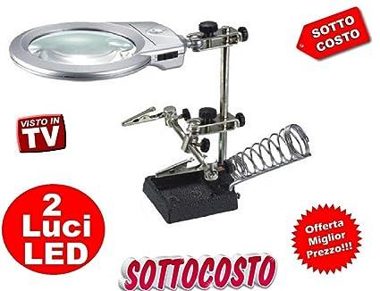 Soporte soldador de estaño con brazos luz LED y lupa lupa tercera mano