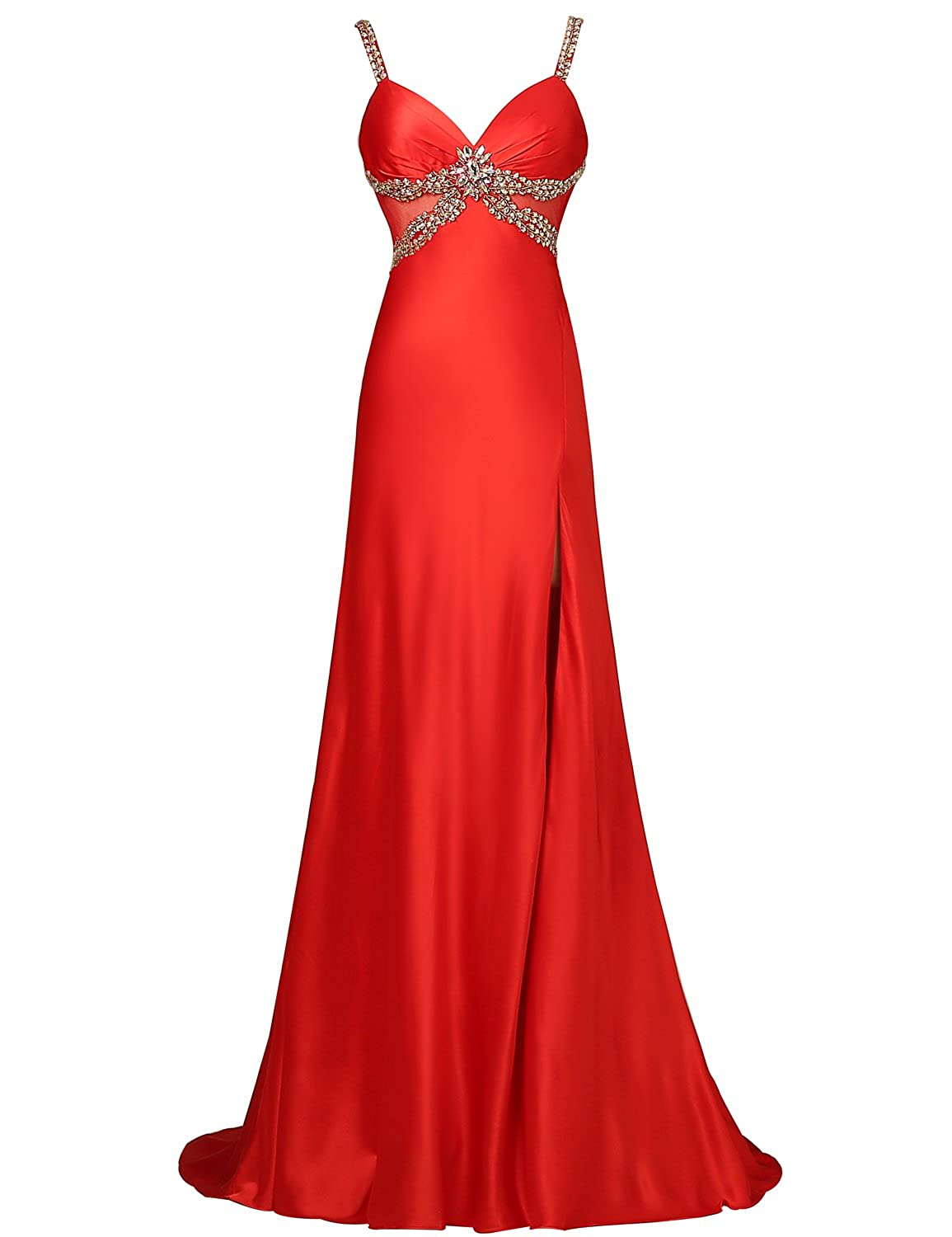 Sarahbridal Women's Sexy Spaghetti Strap Prom Dress Satin Split Front Formal Evening Party Dresses with Beaded SHY006