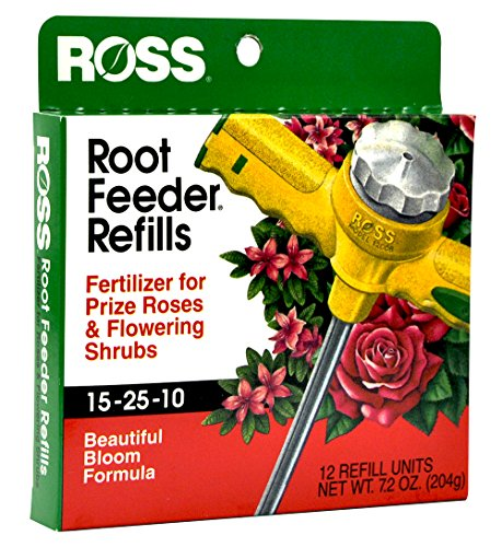 Ross Rose & Flowering Shrubs Fertilizer Refills for Ross Root Feeder, 15-25-10 (Ideal for Watering During Droughts), 12 Refills (Formula Rose)
