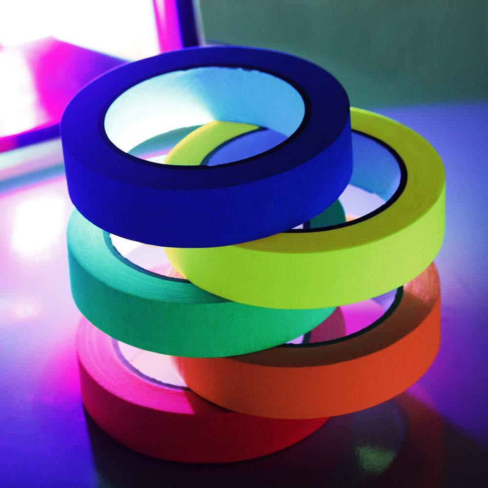 cinta de ne/ón del arte del arte del arte fluorescente de la calidad de la cinta de Spike del algod/ón 6pcs para los pisos Etapas Whiteboard Winbang Cinta de Gaff