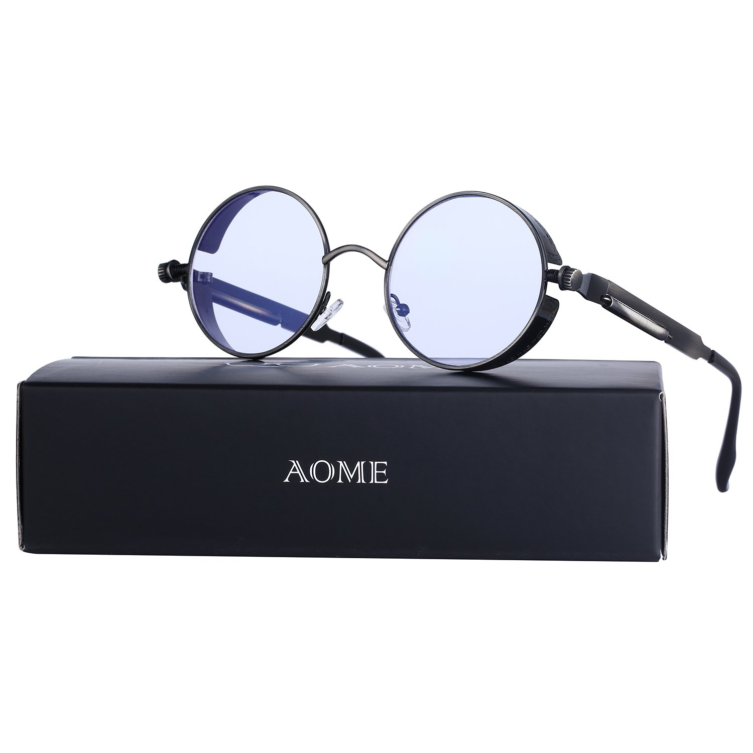 AOME Gothic Steampunk Round Sunglasses Metal Frame Mirrored Circle Lens Glasses (Bronze&Clear, 1.9)