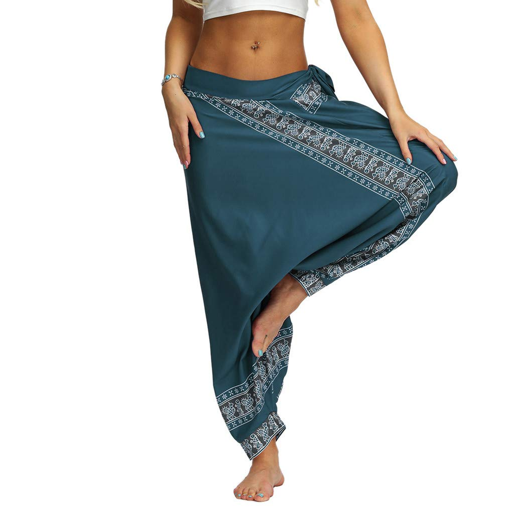 Amazon Com Beyonds Women S Boho Pants Hippie Clothes Yoga Outfits Peacock Design Women Loose Yoga Wide Leg Hippie Pants Travel Lounge Casual Beach Baby