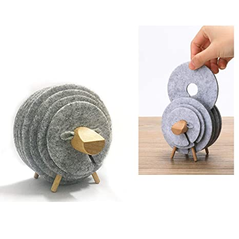 Surprising Amazon Com Sunormi 4 Sizes Felt Round Drink Coasters Set Alphanode Cool Chair Designs And Ideas Alphanodeonline