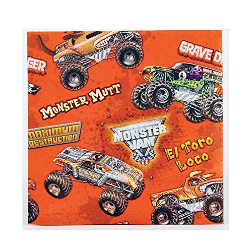 BirthdayExpress Monster Jam Party Supplies - Beverage Napkins