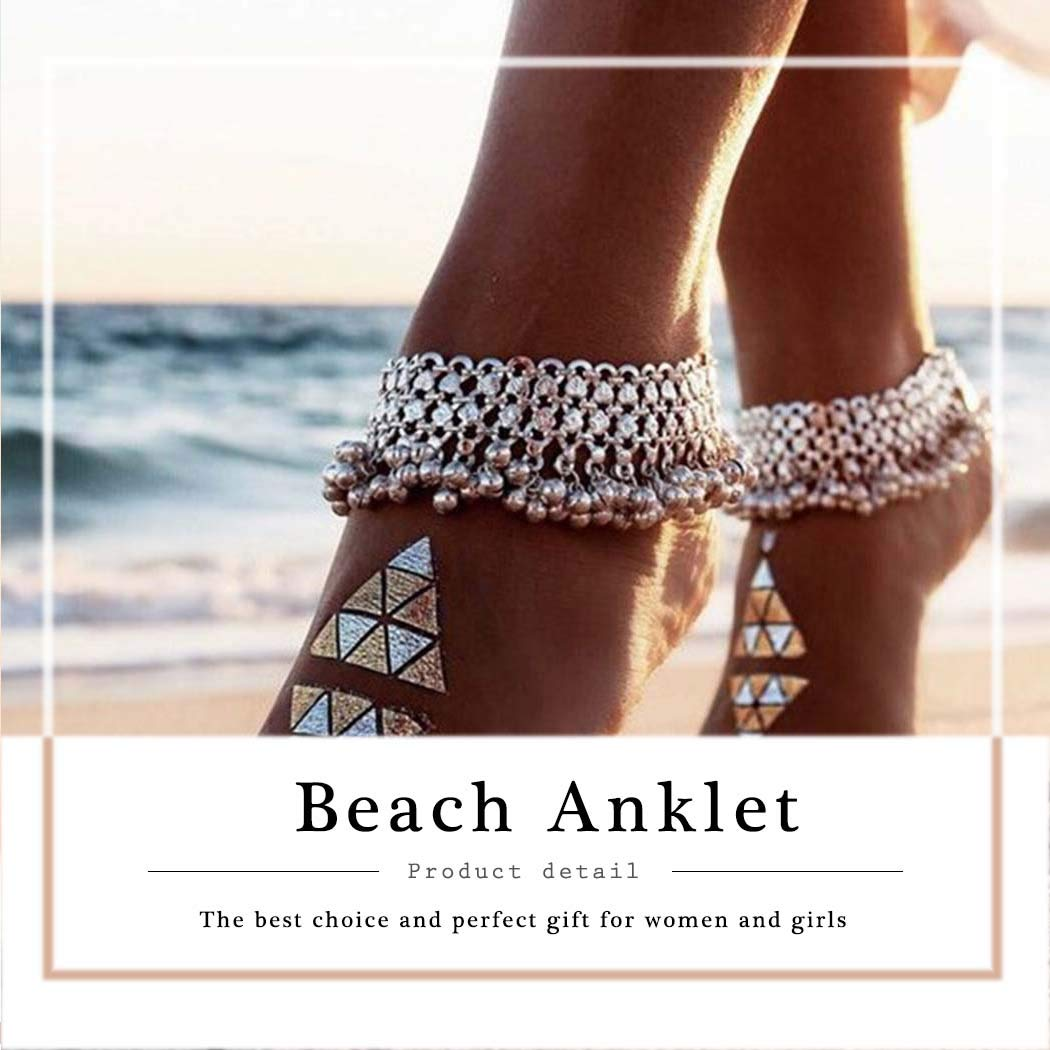 Victray Boho Tassel Anklets Ankle Bracelets Summer Barefoot Beach Anklet Foot Chains Fashion Foot Jewelry for Women and Girls