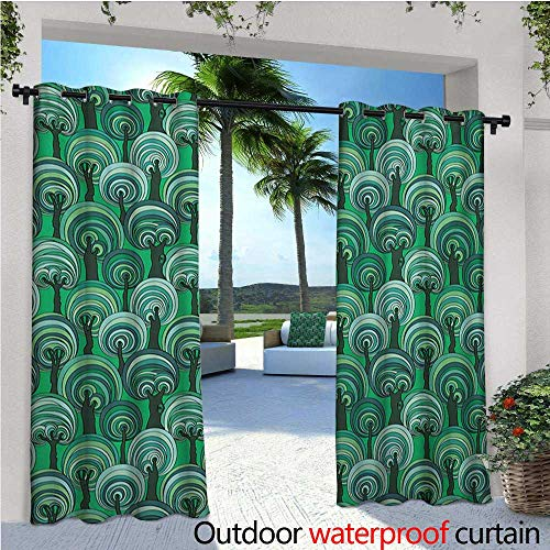 homehot Tree Fashions Drape Colorful Deep Forest Pattern with Abstract Circular Foliage Design Bullseye Pattern Outdoor Curtain Waterproof Rustproof Grommet Drape W72 x L108 Multicolor (Bullseye Light Plum)