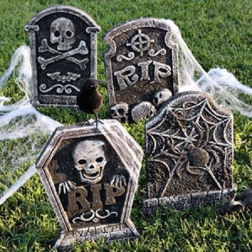 Make Your Own Graveyard kit - Cemetery - 4 Tombstones - Crow - Spider (Make Your Own Halloween Decorations Outdoors)