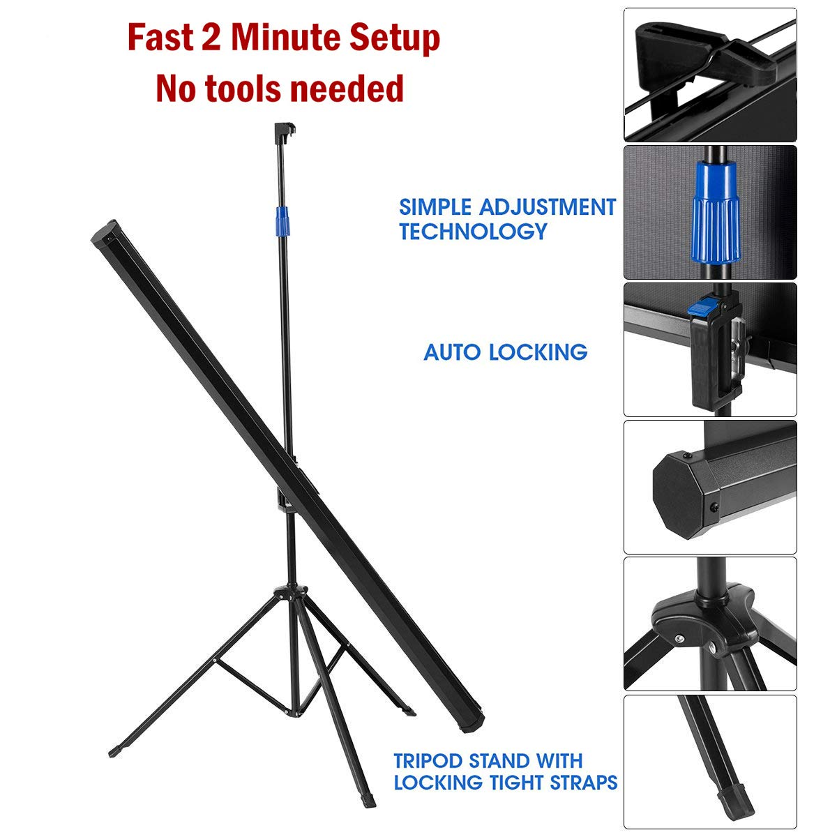 Projector Screen with Stand 84 inch Indoor and Outdoor Projection Screen for Movie or Office Presentation - 16:9 HD Premium Wrinkle-Free Portable Tripod Screen (Ease of Use, 160° Viewing Angle)