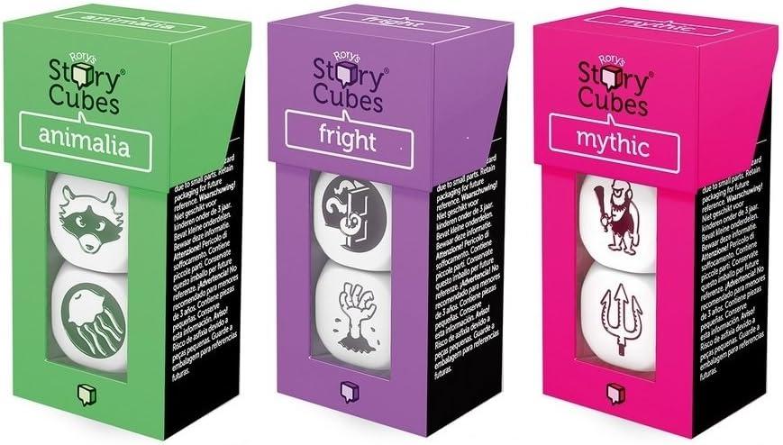 Rory Story Cubes Bundle III Juego de Mesa con Dados para Crear Cuentos e Historias, 3 Paquetes, temáticas Animales, mitología, Miedo (podría no Estar en español): Amazon.es: Juguetes y juegos