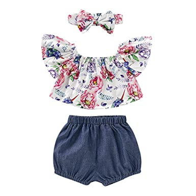 9b0b6ba2d 3pcs Baby Girl Outfits Floral Patterned Flutter Sleeve Top and Denim Shorts  with Headband Set (