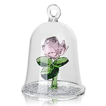 Crystal Enchanted Red Rose Glass Sculpture In Glass Dome Flower Figurine  Ornament Loveru0027s Gifts (pink