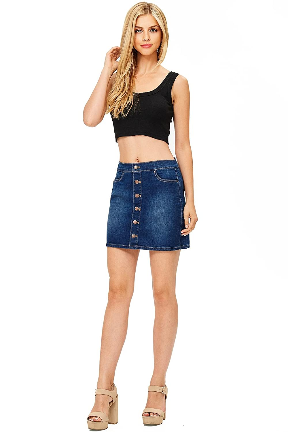 Adorable denim mini skit with an A-line construction. Button up closure  down the front with pockets at sides. Stretchy denim skirt fit can be worn  mid or ... 2c0630865