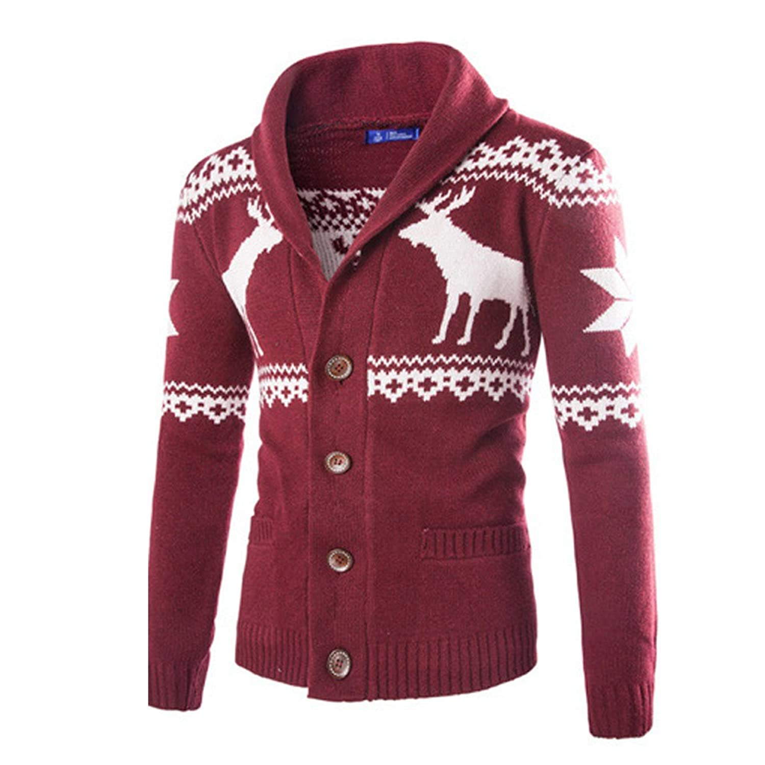 Men's Cardigan Long Sleeve Sweater Cable Knit Christmas Sweater Knitted Jacket Outwear