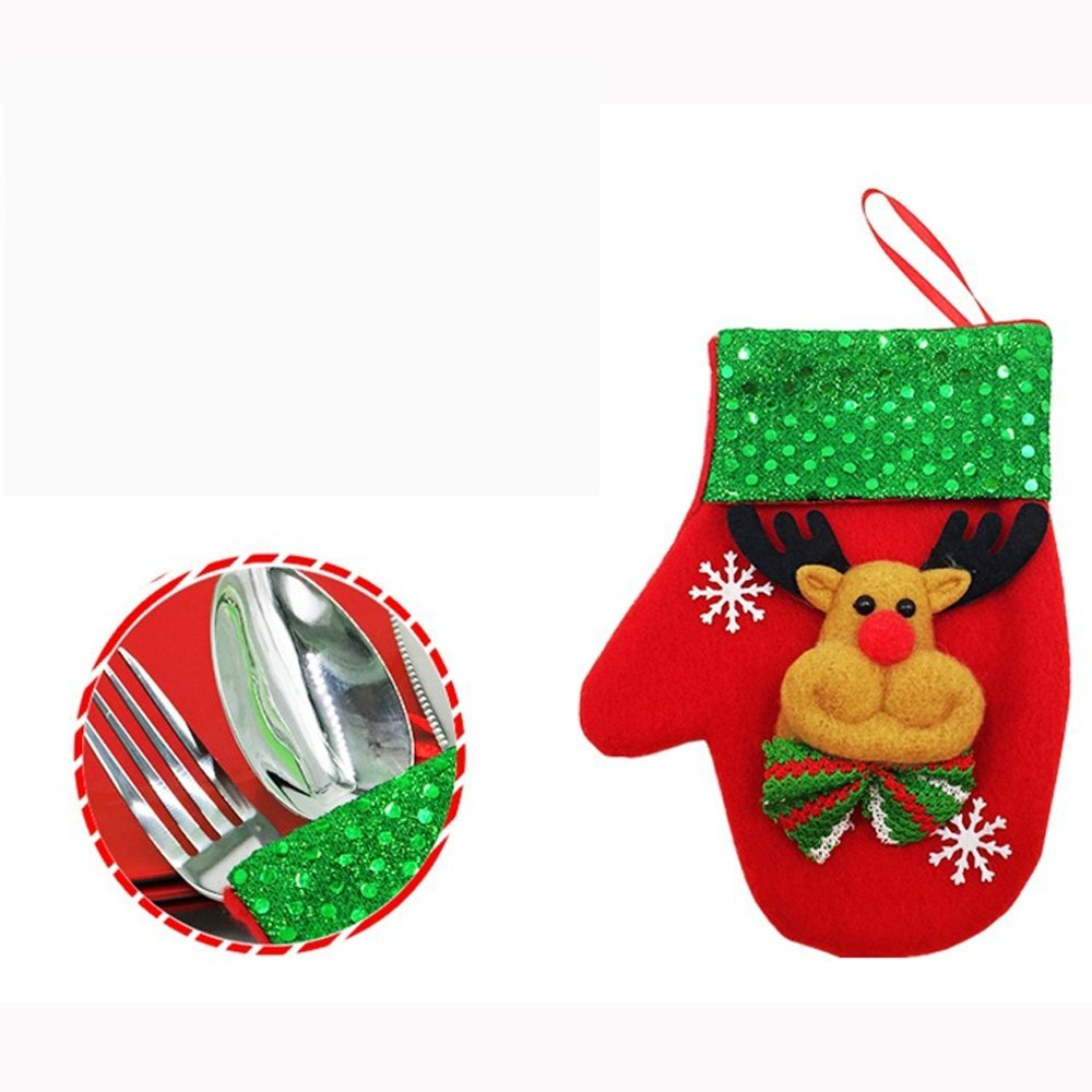 D Bear LLguz Christmas Glove Tableware Storage Bag,Xmas Flatware Fork Cloth Pouch Pocket Storage Organizer Container Holder for Dinner Kitchen Decoration Gift