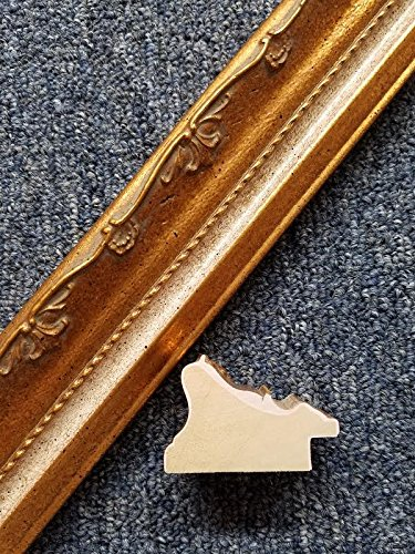 20' Imported Dark Gold Leaf White Panel Ornate Solid Wood Picture Frame Moulding -
