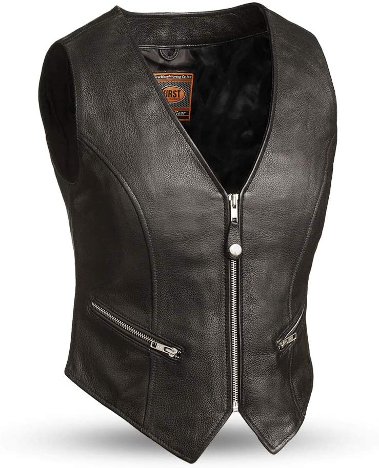 First MFG Co Black, Small - Montana Womens Motorcycle Leather Vest