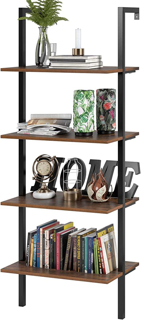 Homfa Estantería Escalera Librería de Pared con 4(5) estantes Estantería Metálica para Salón Baño Terraza Vintage y Negro (154.5x60x18.5cm): Amazon.es: Hogar
