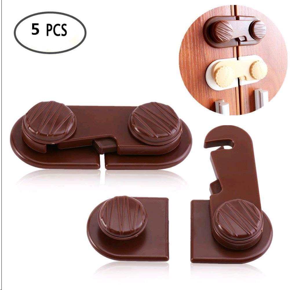 Adhesive Child Safety Locks, 5Pcs Creative Childproof Latches with Strong Double-sided Adhesive Used for Cabinet Fridge Drawer Cupboard Door to Protect Children Kids Baby Toddler (Brown) Yosoo