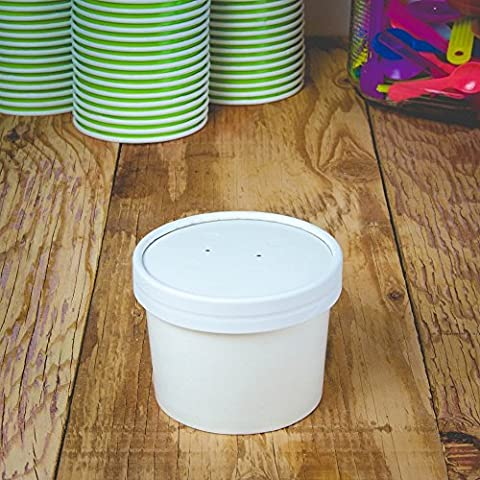 Hot Cup Factory White Paper Containers - Half Pint 8 oz Containers With Vent Hole Lids For Soup - Heavy Duty Containers Designed to Keep Food and Beverages Hot!