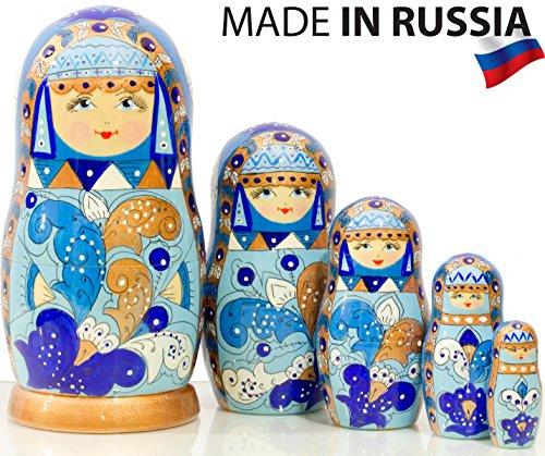 (Russian Nesting Doll - Snow Queen - Hand Painted in Russia - Medium Size - Traditional Matryoshka Babushka (6.75`` (5 Dolls in 1), Blue) (6.75`` (5 Dolls in 1), Gzhel))