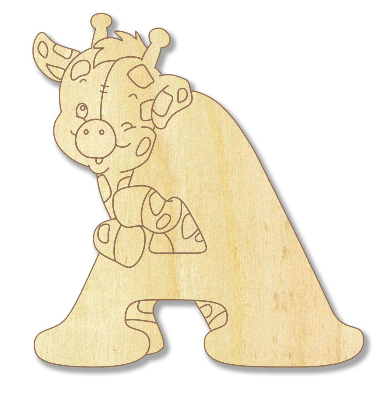 Farbklecks Collection Holzbuchstabe Giraffe A - 10cm Höhe - Buchstabentiere - Holzbuchstaben - Holz-Buchstabe
