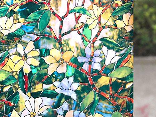 Mecarel Summer Magnolia Pattern No Glue Static Cling Decorative Window Film, 23.6-by-78.7 Inches(60 x (Magnolia Pattern)