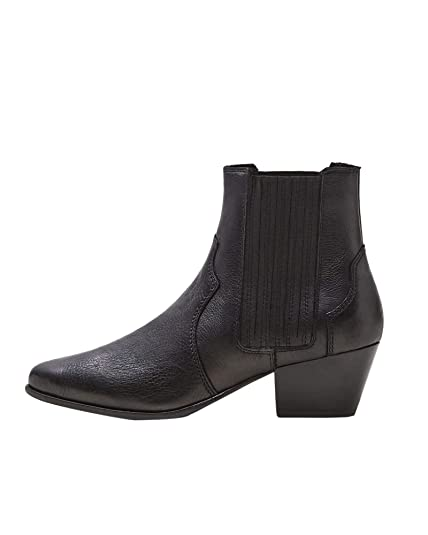 ddc35527ea4 MANGO Women's Leather Cowboy Ankle Boots 43090351 Black: Amazon.co ...