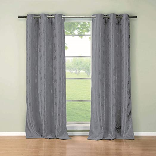 Duck River Textiles – Blair Metallic Floral Leaves Blackout Room Darkening Grommet Top Window Curtains Pair Panel Drapes for Bedroom, Living Room – Set of 2 Panels – 36 X 84 Inch – Grey