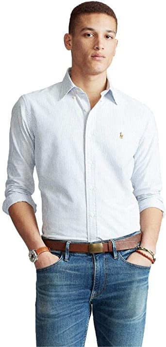 Ralph Lauren Camisa Rayas Blanco y Azul para Hombre: Amazon.es: Ropa y accesorios
