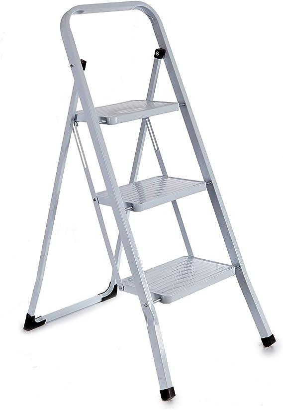 TU TENDENCIA ÚNICA Escalera metálica blanca plegable con peldaños anchos, con apoyabrazos. Tacos antideslizantes. Capacidad de carga 150kg (3 peldaños): Amazon.es: Bricolaje y herramientas