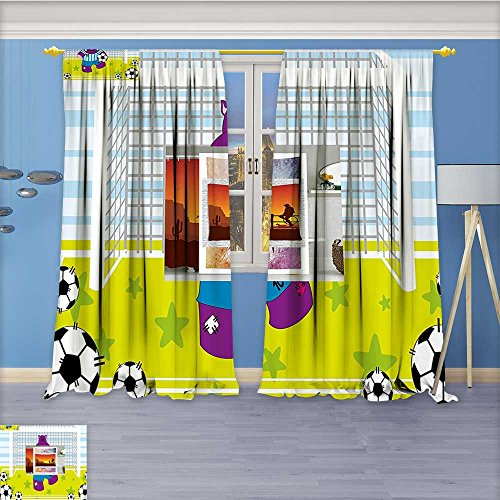 Nalahome Room Darkening Grommet Window Curtains,Sports Hippopotamus Soccer Goal Keeper Football Print Apple Green Baby Blue, Set of Two Panels, 96W x 108L inch (Soccer Control Keeper)