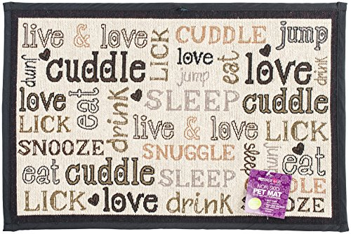 (PetRageous Designed Tapestry Placemat for Pet Feeding Station, 13-Inch by 19-Inch, Cuddle, Natural/Black)