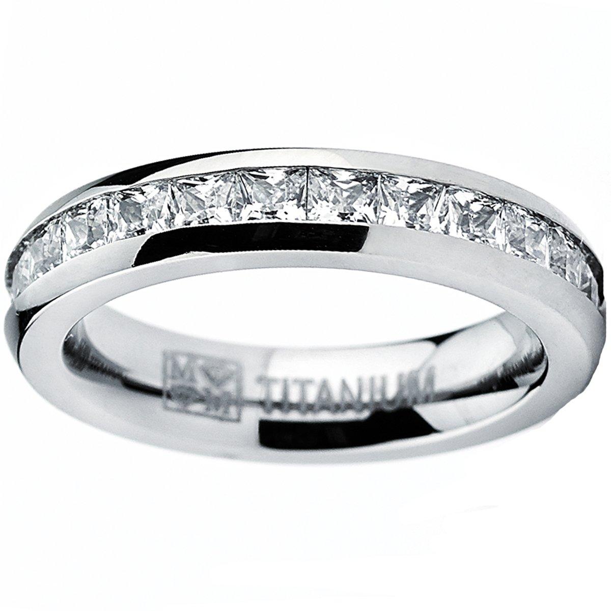 4MM High Polish Princess Cut Ladies Eternity Titanium Ring Wedding Band with CZ Size 8